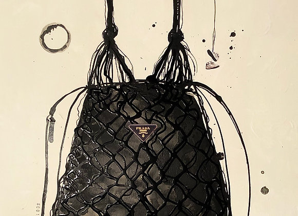 0103. Prada faux leather mesh and nylon hobo bucket bag