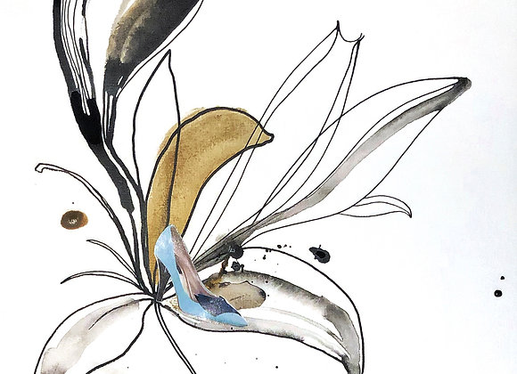 SC0091. Oriental Lily with Louis Vuitton patent leather shoe