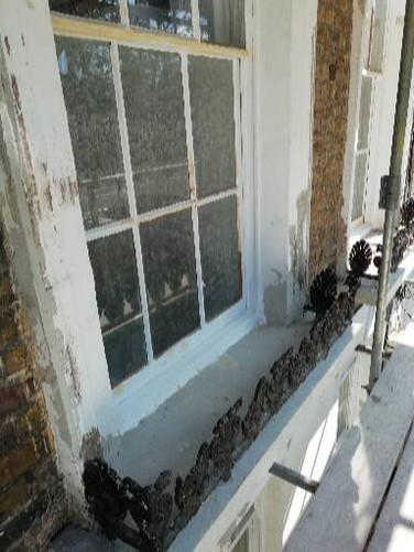 Front window damage.