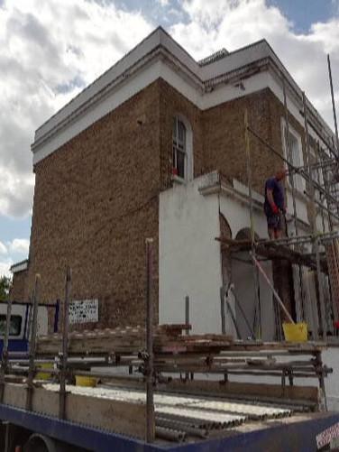 Front entrance bay elevation work.