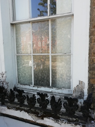 Window sash and reveal damage.
