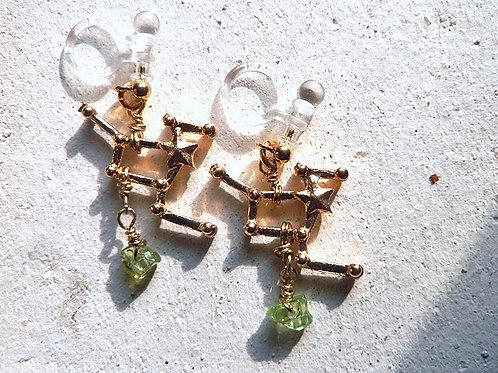 3D星座とちょっぴりよい石のイヤリング*獅子座とペリドット