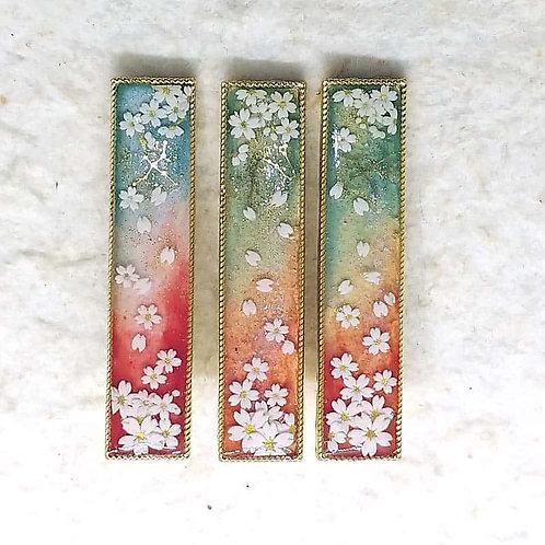 ヘアクリップ*爛漫桜紋様*あけぼの*桜に白鳥座と龍座