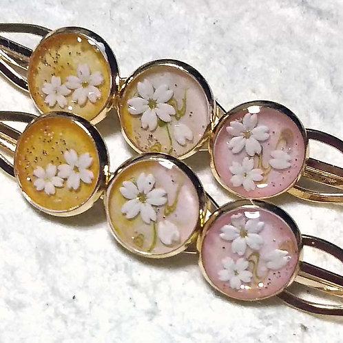 桜のヘアピン~三つ丸グラデーション~春日(はるひ)