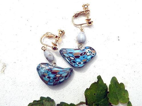 モザイクの鳥と種のイヤリング*ブルー(E200)