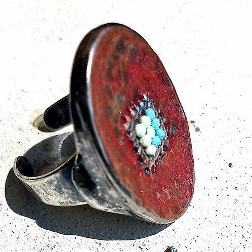 Statement Ring #9 赤銅プレート