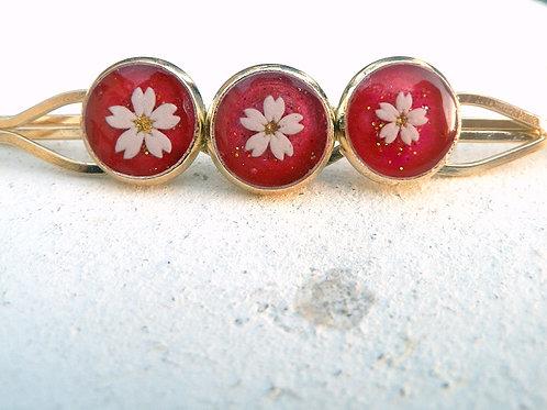 爛漫*桜の三つ丸ヘアピンA~ホットピンク
