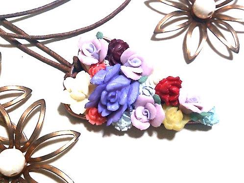 ジプシースタイル花盛りハートペンダント