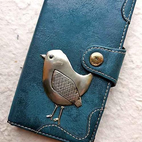 【アウトレット】スマホ・タブレットケース用ピューターエンボッシング・小鳥A