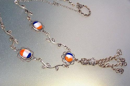 トリコロールグラス・プリンスフラッグと小枝のリンクネックレス