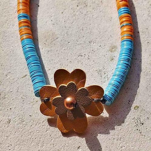 アフリカンビニールディスクネックレス~ターコイズカラーxオレンジの複製
