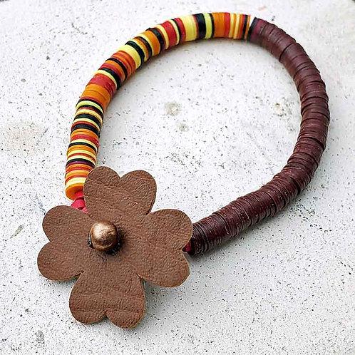 アフリカンビニールディスク~花とアフリカンブラウン