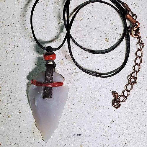矢じりペンダントS~選べる4種~水晶、ローズクオーツ、アゲート2色