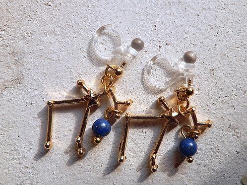 3D星座とちょっぴりよい石のイヤリング*射手座とラピスラズリ