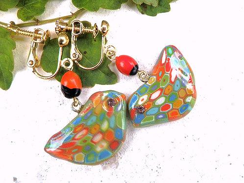 モザイクの鳥と種のイヤリング*オレンジ