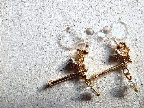 3D星座とちょっぴりよい石のイヤリング*牡羊座と水晶