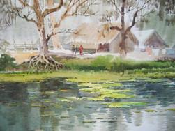 Khin Maung San - Hut Near River