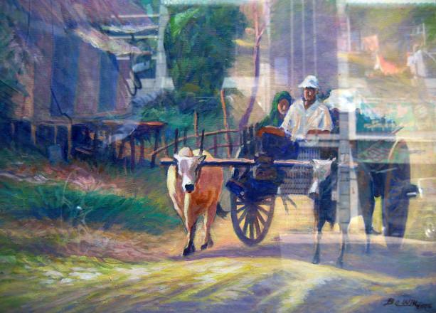 U Ba Win - Cow Cart with Two Men