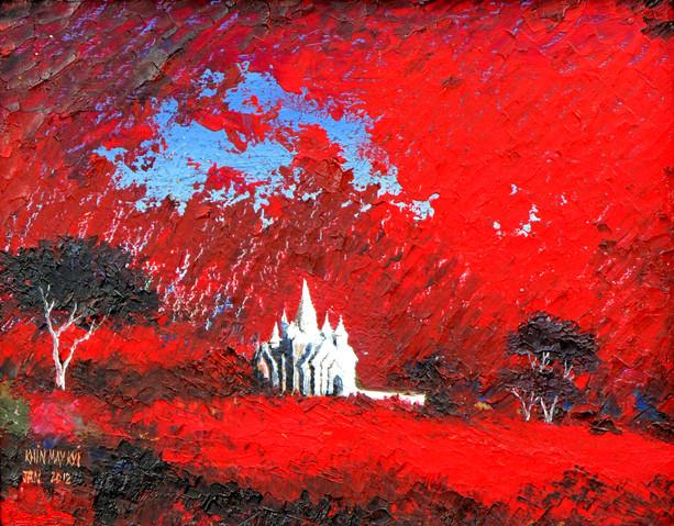 Khin May Kyi - Red Landscape 2