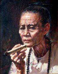 Than Htay - Smoking Old Lady