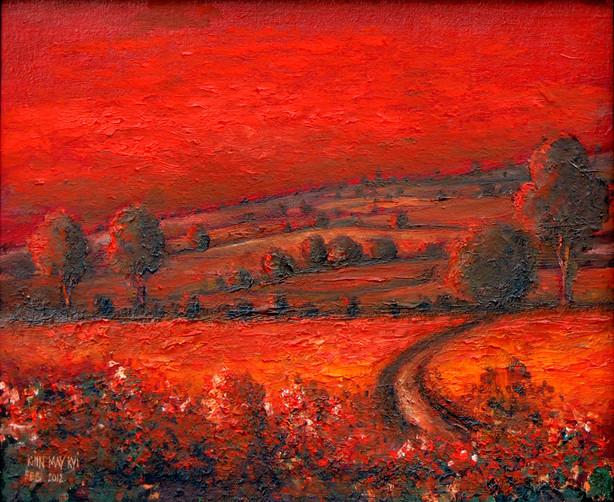 Khin May Kyi - Red Landscape