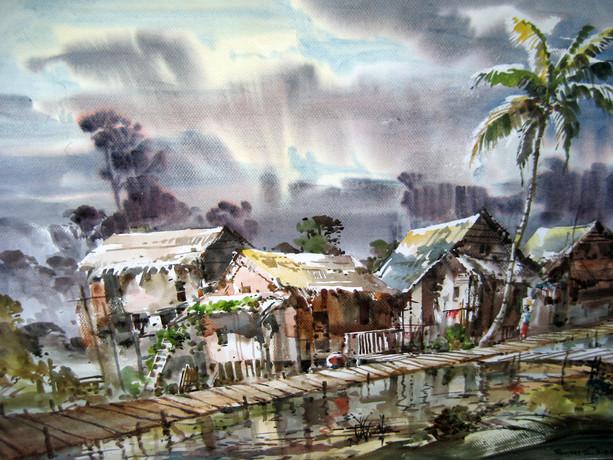 Ramree Tin Shwe - Village with Bridge