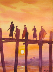 U Mya Aye - U Pein Bridge and Monks