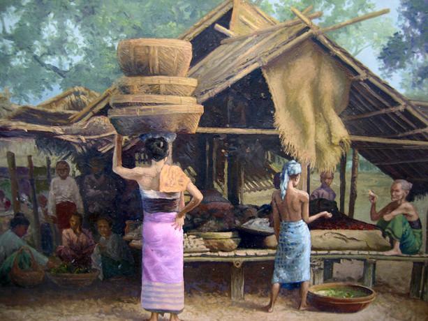 Hla Tun - People in Hut
