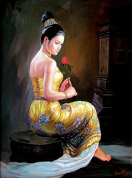 Than Htay - Girl With Rose