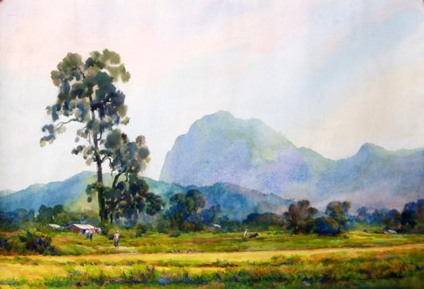 Khin Mg Than - Mountain Scene