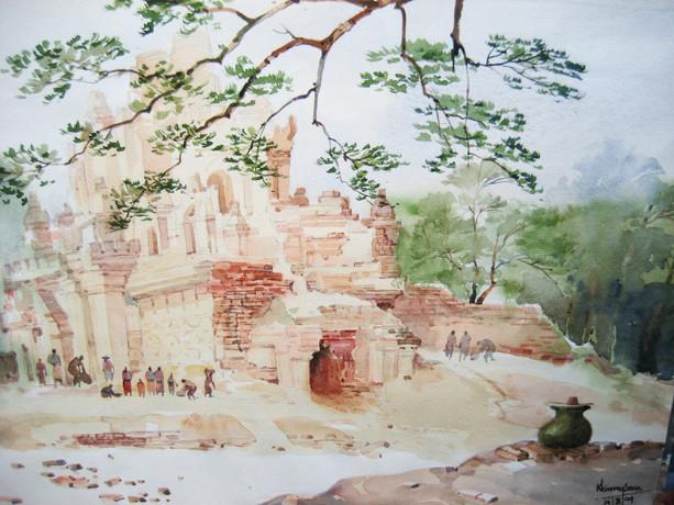 Khin Maung San - Old Pagoda and Pots