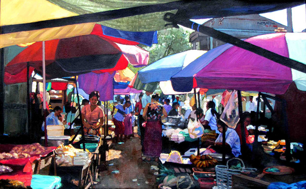 Kyee Mytin Saw - Market of Umbrellas