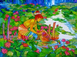 Kyi Thein - Water Fetching Village Girl