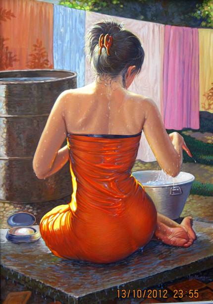Win Khaing - Bathing Lady