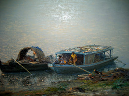 Aung Myint Oo - Jetty with Two Boats