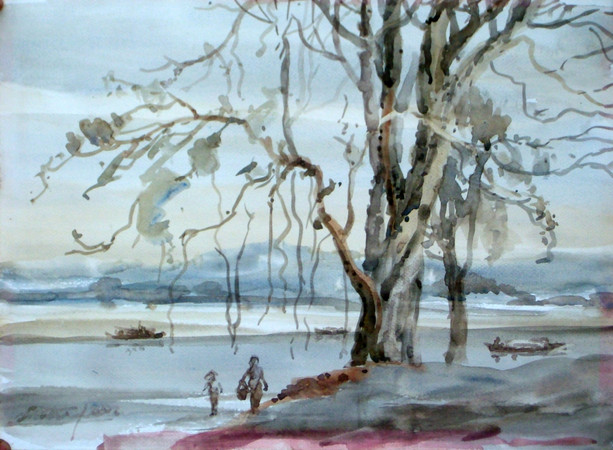 Lu Tin - A Tree on Chin Dwin River Bank