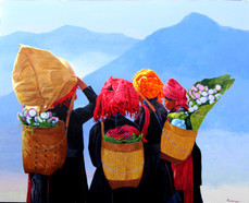Phoe San - Poa Girls with Flower Baskets