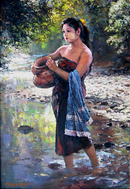 Mg Kyaw Nyunt - Water Fetching Girl