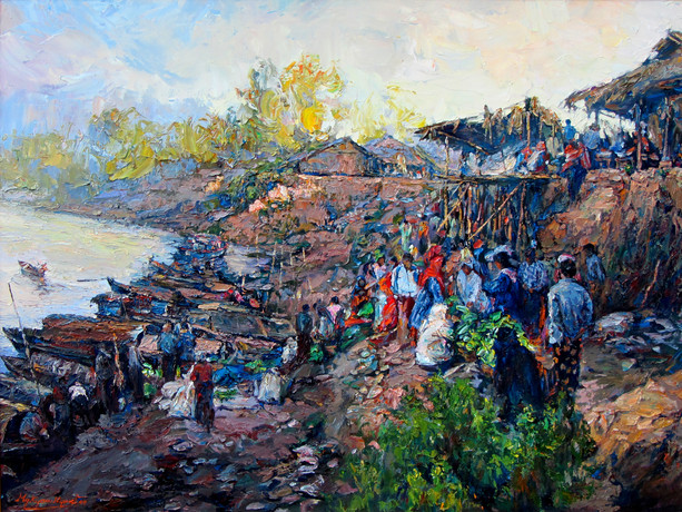 Mg Kyaw Nyunt - Morning Market at Rakhine Village