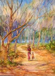 U Mya Aye - Carrying Firewood