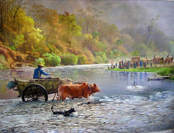 Hla Tun - Cow Cart Crossing River