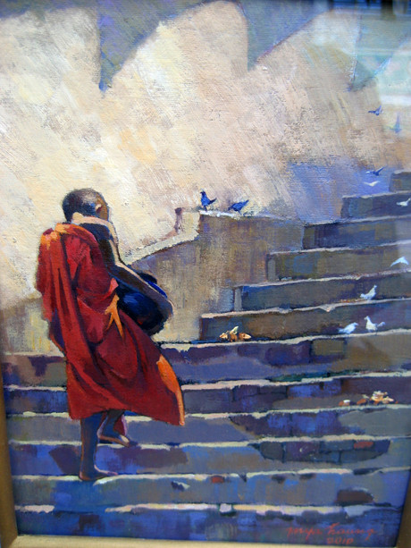 U Mya Thaung - Mount on Stairway