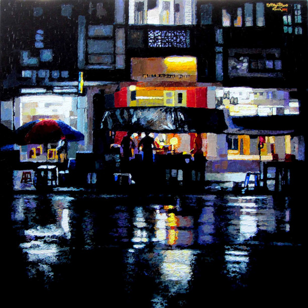 Kyee Myint Saw - Yangon Night in the Rain