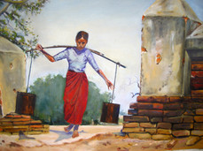 P. S. M. Kyaw - Lady Carrying Water
