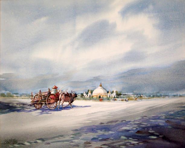 Nay San - Bullock Cart to Pagoda