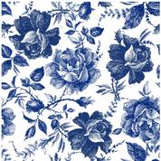 Blue Sketched Flowers Decopauge Paper