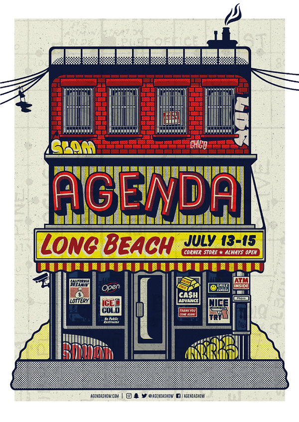 poster design, california, long beach, illustration, agenda trade show, Freelance Design Services Graphic Design, Illustration, Layout, Apparel Created by Chip, streetwear, street wear,