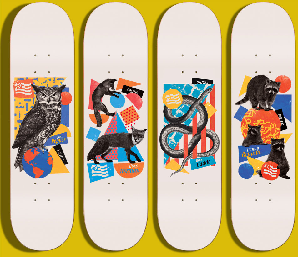 Skateboard Art, Politic Skateboards, Graphic Design, Freelance Design Services Graphic Design, Illustration, Layout, Apparel Created by Chip