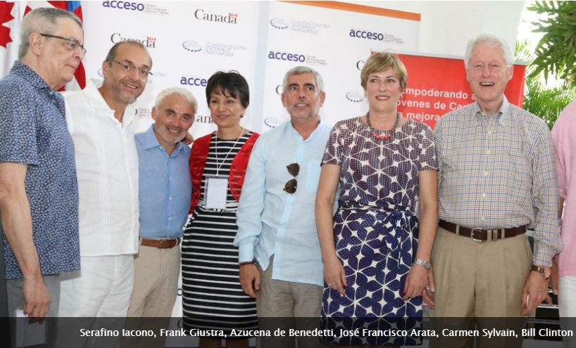 Foto de los directivos de Pacific, con Frank Giustra y Bill Clinton con Armando Benedetti Jimeno y Azucena de Benedetti