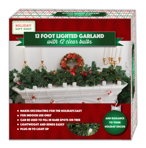 LG-12-3055 12 Foot Lighted Garland With